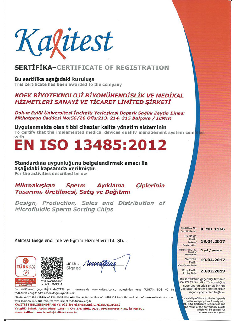 KOEK Biotechnology ISO 13485 and EC Certificate